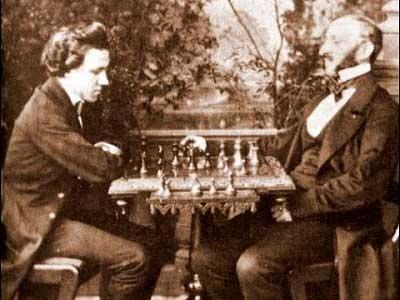Paul Morphy jugando con los maestros de ajedrez